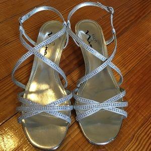 Nina Sliver Wedge Sparkly Strappy Heels